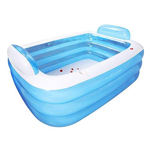 SJTL Grandes de Color Azul Inflable Bañera Adultos plástico Plegable portátil bañera SPA Bañera Bañera de hidromasaje Inicio Equipo eléctrico con la Bomba de Aire,1.8m