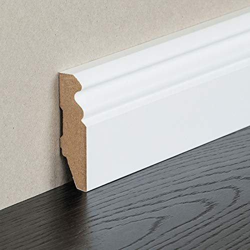 HORI® Sockelleiste weiß foliert RAL 9016 I MDF-Kern Fußleiste I Hamburger Profil I Höhe: 96 mm