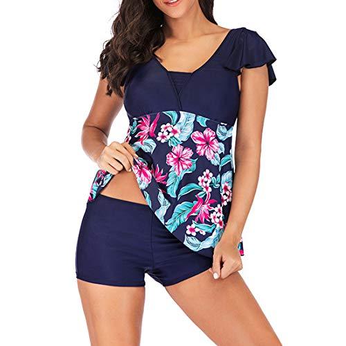 ZHUQI Damen Sommer 2-teiliges Set Rüsche Print Badeanzug Tank Top Und Shorts Bikini Swimsuits Beiläufig Bewegung Set XL