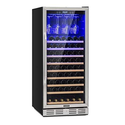 Klarstein Vinovilla - Weinkühlschrank, Getränkekühlschrank, Touch-Bediensektion, LED-Innenbeleuchtung, 2 Kühlzonen, Volumen: 331 Liter, 10 Holzeinschübe, schwarz