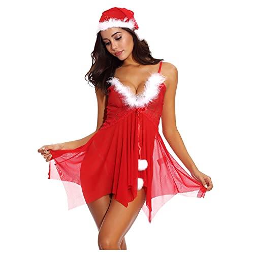 Lenfeshing Conjunto de Camisón de Hilo de Red Navideño para Mujer Pijama Sling Teddy con Cuello En V + Tanga + Gorro Navideño