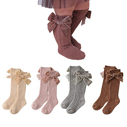 4 Pair Baby Girls Cute Bow Uniform Knee High Socks Tube Ruffled Stockings Infants and Toddlers (4 colors in one package,0-12 Months)