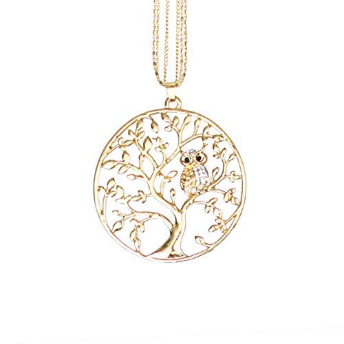 Colar com pingente de árvore da vida Amosfun com coruja de animal de cristal, longo, gargantilha de clavícula, suéter corrente, joia de presente para mulheres e senhoras (dourado)