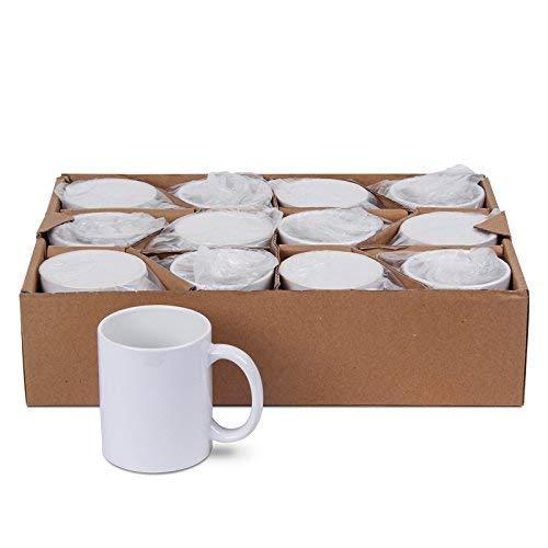 Tasse Kaffee Becher (AAA-Grade) für Sublimationsdruck | hochweiße Beschichtung, unbedruckt (12 Stück)