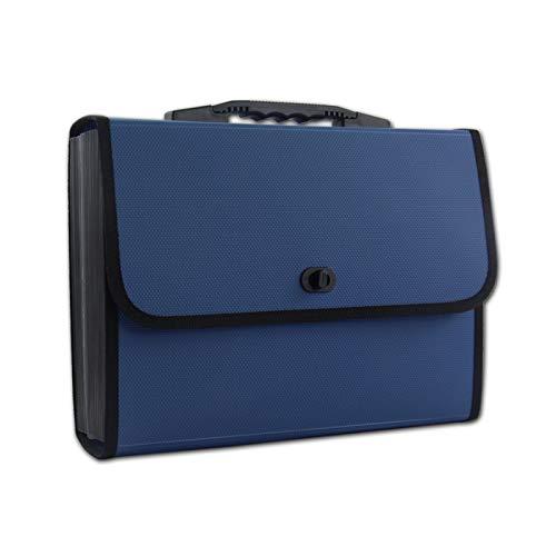 Valigetta per il trasporto di file Documenti Cartelle Cartelle Affari Documenti Test di verifica Documenti Taccuini Bollette Biglietti Assicurazione Forniture per ufficio Penne Carte A4 - Blu
