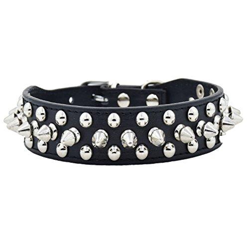 Generisches Hundehalsband Halsband aus PU Leder mit Nieten cool Design 2.10cm Breit XXS XS S M L mehr Farben wählbar für kleine wie Chihuahua/Mittlere Hunde Hunter, Schwarz XS