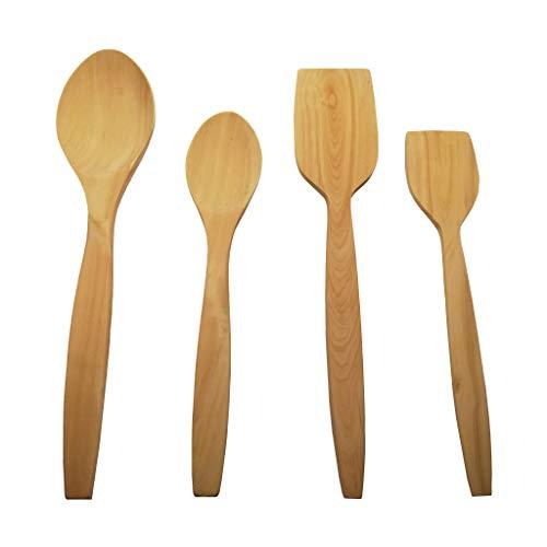 Buxus - Juego de 4 cucharas de madera para cocinar utensilios de madera de boj de 4 piezas, cuchara antiadherente, utensilios de cocina de alta calidad, regalos de madera sin edad para uso diario