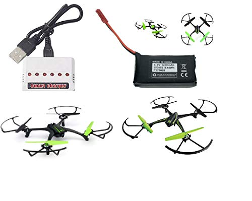 Sky Viper Drone Compatible 1200mAh Battery and Smart USB Charger. Set It Works for Sky Viper Stunt Quadcopter, Scout Furry Camera Drone X-Quad s670 Stunt v950HD/STR s1700/1750 v2400HD/FPV v2450FPV