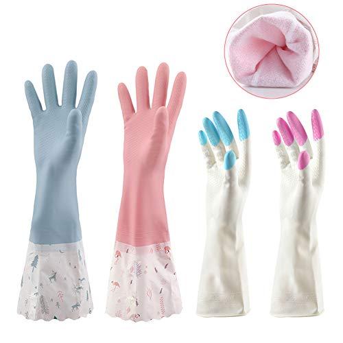 Guantes De Cocina Mujeres Guantes impermeables de cocina Guantes antideslizantes largos de goma para lavar platos Limpieza de lavandería (Tamaño mediano, 4 pares)