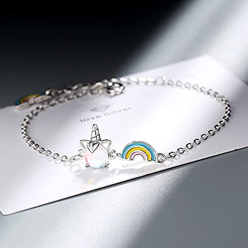 Pulseras y brazalete de plata de ley 925 con diseño de unicornio, arco iris, para mujeres, bodas, fiestas, joyas