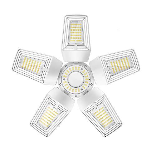 LED Garage Light 125W Five Leaf Garage Lights Ceiling LED 13,500 Lumen 5000K Deformable Adjustable Garage Ceiling Light Bulb E26/E39 Base for Indoor Area Lighting ELT Listed