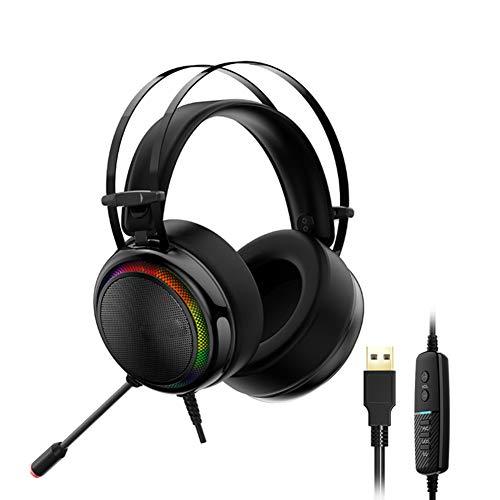 DZSF Auriculares Gaming Headset PS4 Virtual 7.1, Interfaz USB Auriculares para Juegos de PS4, Switch, Ordenador...