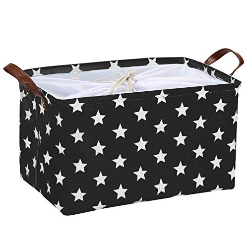 Sea Team Stylish Star Pattern Canvas Fabric Storage Basket Collapsible Geometric Design Storage Bin with Drawstring Cover and PU Leather Handles, 16.5 by 11.8 inches, Waterproof Inner, Black