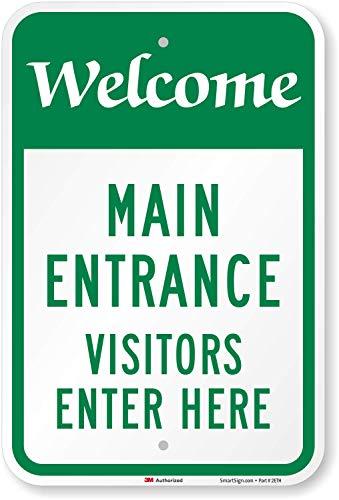 SmartSign - K-7688-EG-12x18 'Welcome, Main Entrance - Visitors Enter...