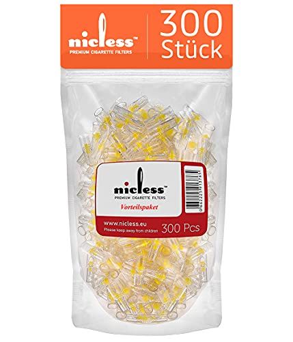 NICLESS Premium Zigarettenfilter| Zigarettenspitzen für weniger Teer und Nikotin| Plastik- Zigaretten Filteraufzats| Mikro-Filtrationssystem für Zigaretten Regular|Tasche|300 Stück|Filter Aufsatz 8mm