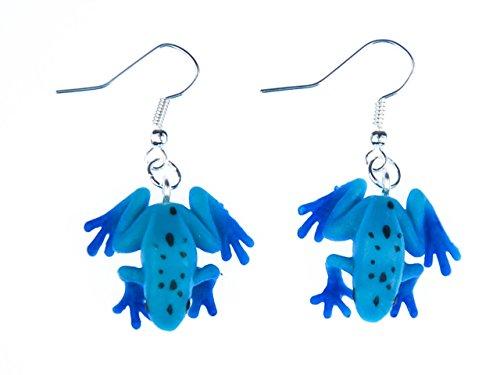 pendientes de goma rana venenosa de la selva amazónica Miniblings azul de la rana anfibio