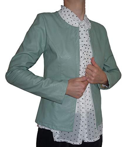 Giacca Finta Pelle Aperta Scollo Tondo Aderente Avvitata Leggera Cardigan Coprispalle Donna Ragazza (XL 46 IT Donna, Verde Tiffany)