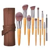 HU Pincel de Maquillaje Herramienta de reparación Facial Base Líquido, Colorete, Labios, Cejas, Sombra de Ojos, Juego de 10 adecuados para Principiantes