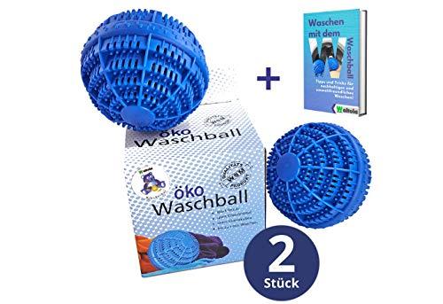 Waltola Öko Waschball - Waschkugel für Waschmaschine - Nachhaltig und Umweltfreundlich - 2er Set für bis zu 2000 Wäschen - Original Kleckerbär mit Keramikkugeln und Gratis eBook Blau