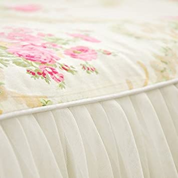 LELVA Dust Ruffled Bed Skirts Full Size Wrap Around Lace Bed Ruffle with Platform 18 inch Deep Drop Cotton Floral Girls Bed Sheets White