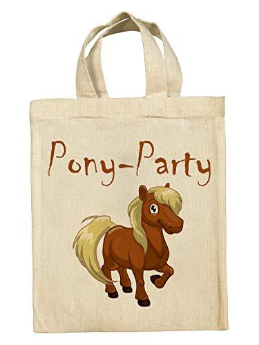 clothinx Lustige Kindergeburtstag Tasche Mitgebsel-Beutel im Set mit Geburtstag-Motto Pferde und Ponys 5er Pack