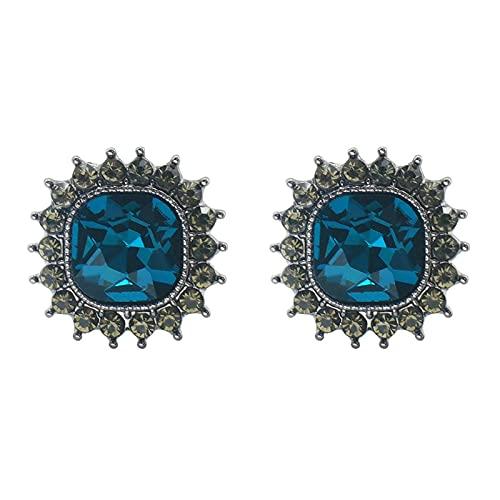 Pendientes de botón de aguja de plata S925, pendientes de sentido de alta moda, pendientes de cristal azul francés púrpura, pendientes cuadrados geométricos simples con diamantes