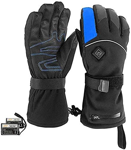 QMJHHW Heated Gloves Heated Gloves, Rechargeable Battery Powered Electric Heat Gloves Unisex Waterproof Winter Thermal Gloves Motorcycle Skiing Cycling