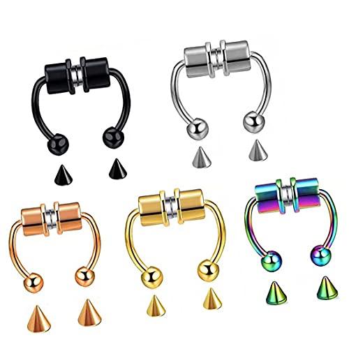 N\A Magnetic Septum Nose Ring,magnéticos de Herradura,5PcsAnillos de Nariz magnéticos,Moda Reutilizable Anillo de Nariz Aleación de Herradura magnética Falsa Aro no perforante