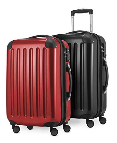 HAUPTSTADTKOFFER - Alex Kofferset - 2 x Handgepäck Hartschale Kabinenkoffer mit Erweiterung und TSA-Schloss, 55 cm, 42 Liter, Schwarz-Rot