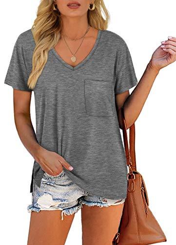 Dofaoo V Neck Tshirts Women Casual V-Neck Basic Fashion Tops Grey S