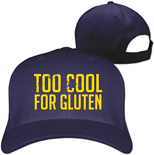 Too Cool for Gluten Mens Womens Baseball Hat Hip Hop Casquette Adjustable,Navy,One Size