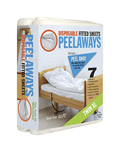 PEELAWAYS Disposable Fitted Bed Sheets Mattress Pad Protector – 100% Waterproof Designed Especially for Incontinence – Luxuriously Soft – Change in Under 60 Seconds (Twin XL - 7 Layer)
