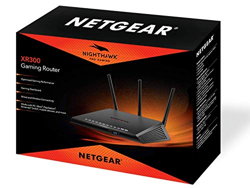 NETGEAR Nighthawk Pro Gaming XR300 WiFi Router with 4 Ethernet Ports and Wireless speeds up to 1.75 Gbps, AC1750… 3 Monitor your network and game ping in real time so you can see who's hogging the bandwidth by device and application Optimized to give you the lowest ping possible on Fortnite, Call of Duty: Black Ops 4, Overwatch, PubG, CS:GO, and more