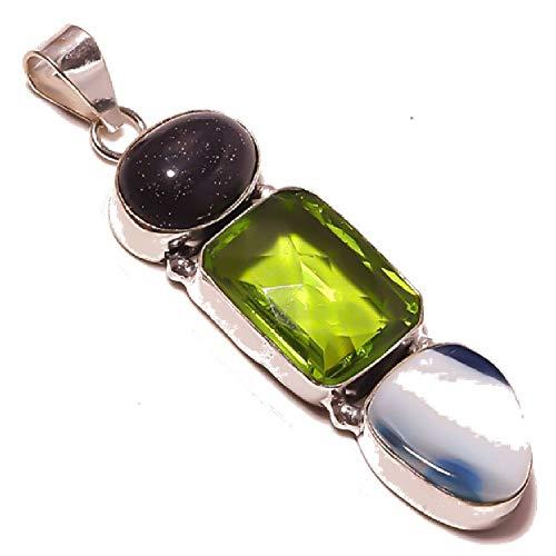 Blå Botswana agat, solsten och ametist kvarts hänge 5 cm långt handgjort silverpläterad full variation smycken butik alla tillfällen