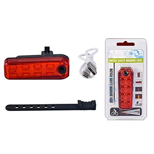 Kidnefn Luz Trasera de Bicicleta Luz de Advertencia LED Luz Trasera USB de Seguridad para Bicicleta para Bicicleta de montaña, para una Seguridad óptima en el Ciclismo