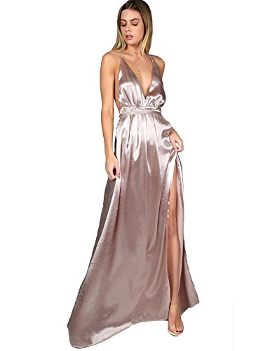 SheIn Women's Sexy Satin Deep V Neck Backless Maxi Party Evening Dress Pink Small
