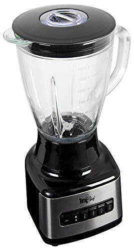 Total Chef TCB15 8-Speed Countertop 500-Watt Stand Blender with Glass Pitcher (1.6 Quarts/1.5 Liters) for Smoothies, Sauces, Shakes, Black/Gray