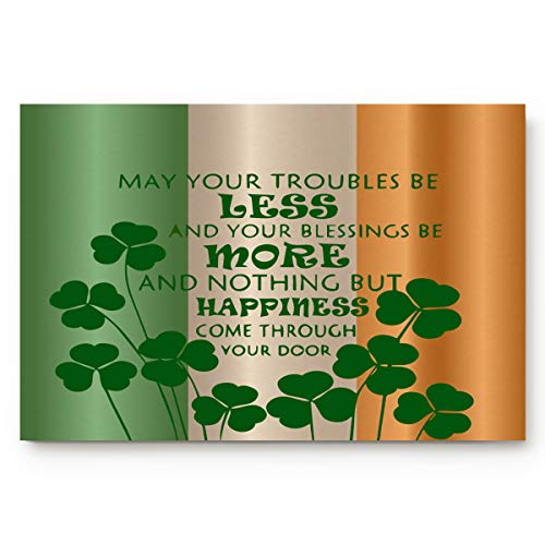 FAMILYDECOR Entrance Welcome Door Mat Floor Rug Indoor/Outdoor/Front Door/Entryway Bath Mats Non-Slip Doormats Shoe Scraper 18' x 30', Happy Greetings for St. Patrick's Day Irish Flag Lucky Shamrock