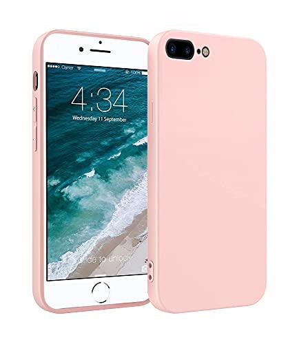 ICOVERI Funda de Silicona Compatible con iPhone 6/7 / 8 Plus Rosa Arena. Carcasa Compatible con Accesorios Magsafe y Cargador Inalambrico. Tacto Suave, Microfibra Interior.