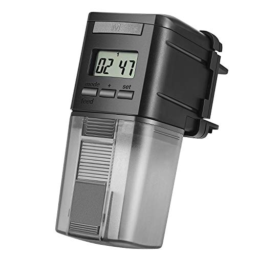 Flexzion Alimentador automático para peces, tanque de acuario, temporizador automático, dispensador eléctrico de alimentos para peces, 5,9 fl. oz 2-4 hora/día programable, ajustable para servir peces grandes o pequeños para día festivo, fin de semana, trabajo ocupado