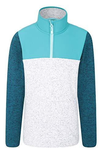 Mountain Warehouse Nevis Kinder-Fleece mit Halb-Reißverschluss - Melange-Fleece-Sweatshirt, Seitentaschen, Pullover mit Kontrastgewebe - ideal für Winterreisen, Ferien Grün 104 (3-4 Jahre)