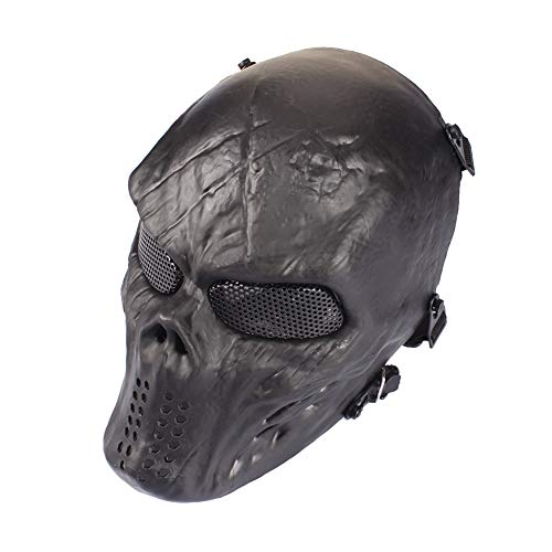 Outry Airsoft Skull MaskFull Face Mask TacticalCostume Mask for PaintballCS Survival GamesShooting Halloween Cosplay and Masquerade Party Black