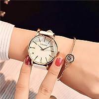 KANEED 腕時計 クォーツ ウオッチ シンプル防水大型ダイヤルウォッチレディース (色 : White white)
