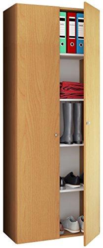 VCM Mehrzweckschrank Dielenschrank Vandol | Auswahlmöglichkeiten: +Schublade / +Aufsatz Höhe 178 cm: Buche