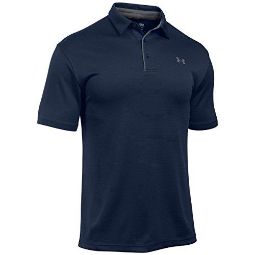 Under Armour Herren Tech atmungsaktives Poloshirt, komfortables und kurzärmliges Sportshirt mit loser Passform, Navyblau (Midnight Navy/Graphite/Graphite (410), S