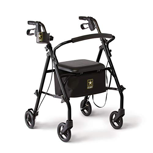 Medline Rollator Walker with Seat and Wheels, Folding Walker Includes Black Army Star Logo Cooler Underbag and Cupholder, Durable Black Steel Frame Supports up to 350lbs, 6in Wheels