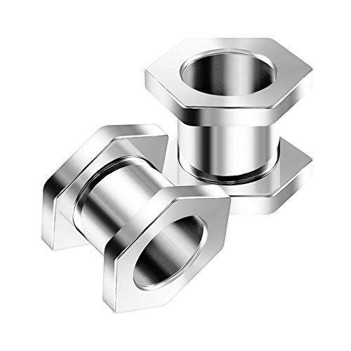 KJM FASHION 2 STK Chirurgenstahl Schraube 10 mm 00 Gauge Fleischtunnel im Hexagon Tunnel Ear Plug Ohren Stecker Dehnstab Ringe Eyelet Piercing Schmuck 5372