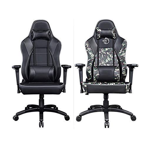 Silla de oficina ergonómica, silla de escritorio, silla de escritorio, silla ergonómica, cintura de apoyo de atletismo, patas de aleación de aluminio, reposabrazos de fibra de carbono, Material:, camuflaje, talla