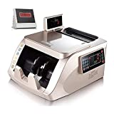 XTZJ Contador de dinero con detección de falsificación UV / MG / IR, máquina de conteo de facturas portátiles, contador de facturas con pantalla externa LED, modos de adición y lotes, 900 billetes / m