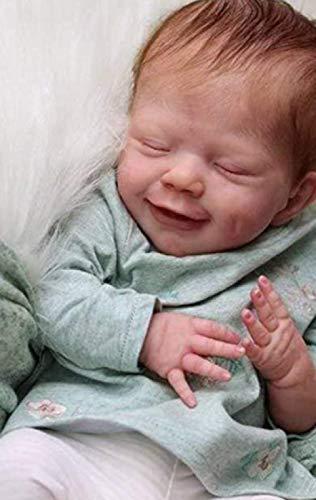 CHANG Mueca Reborn Realista,18 Pulgadas 46 CM Muecas Reborn Realistas Mueca de Vinilo Suave Recin Nacido para Nios Nia 3+,Girl(Clothbody)